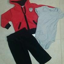 Carter's Daddys Little Rock Star Fleece Jacket/pants Boys 3pc Set 9 M Outfit Photo