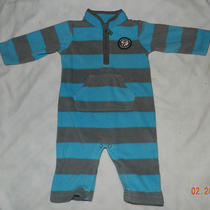Carter's Fleece (6 Mon) Jumpsuit Rockstar Blue Striped One-Piece Boys Outfit Photo