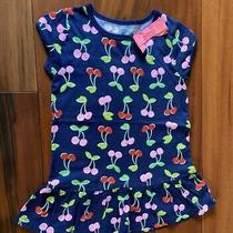 Carter's Girl's Size 5 Navy Dress W/red & Pink Cherries Print Euc Photo