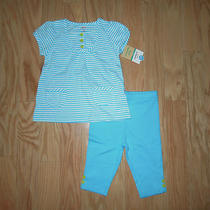 Carter's Girls Aqua 2 Piece Capri Pants Short Sleeve Shirt Set 18 Months Nwt Photo