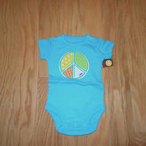 Carter's Girls Aqua Peace Sign Short Sleeve Bodysuit Newborn Nwt Photo