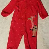 Carter's Holiday Giraffe Fleece Baby Girl Outfit Pajamas Size 12 Months Photo