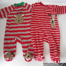 Carter's Just One You 2 Lot Red Reindeer Sleeper Fleece Romper Sz 0-3 Mos.(o-23) Photo