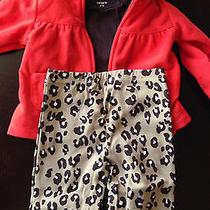 Carter's Red Hoodie Brown Onesie Leopard Pants 3pc Set 12 Months Photo