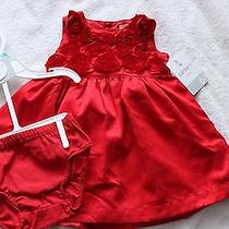 Carter's Red Silk Holiday Sleeveless Dress Size 6 Months Photo