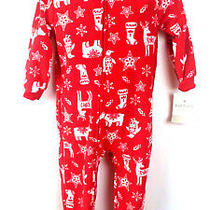 Carter's Toddler Christmas Joy Fleece Red Pajama One Piece Size 18 Months Nwt  Photo