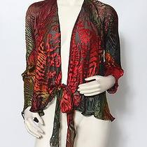Carter Smith Shibori Red Orange Silk Wrap Blouse Shirt Top Sz M L New 1500 Photo