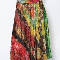 Carter & Teri Shibori Bright Multi Red Yellow Tie Dye Skirt Sz L New 2500 Photo