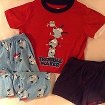 Carters 2t Boys Pj 3pc Trouble Maker Dog Set Blue/red (Good-Ex Condition) Photo