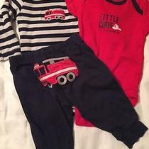 Carters 3 Months Firetruck Little Chief Outfit Red Navy Photo