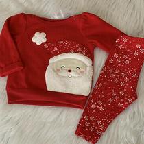 Carters Baby Girls 2 Piece 6 Months Fleece Christmas Red Santa Pant Set Photo