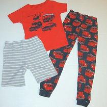 Carters Boys Size 7 Firetruck Pajama 3pc Set Shirt Shorts Pants Navy Red Gray Photo