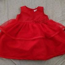Carters Brand Beautiful Baby Girl Formal Style Sleeveless Red Dress 9 Months Photo