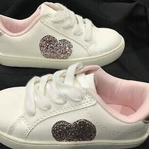 Carters Emilia Glitter Heart White Leather Sneakers Girls  Size 10 Excellent Photo