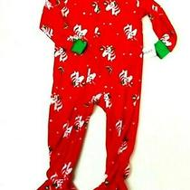 Carters Girls Red Green Unicorn Holiday Pjs Sleeper Soft Fleece 5t New Photo
