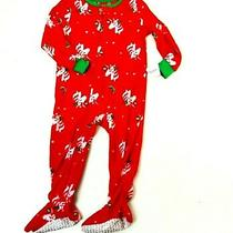 Carters Girls Red Green Unicorn Holiday Pjs Sleeper Soft Fleece Size 2t New Photo