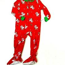 Carters Girls Red Green Unicorn Holiday Pjs Sleeper Soft Fleece Size 12m New Photo