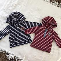 Carters Little Me Lot of 2 Striped Sweaters Baby Boy 12 Months Blue Red Hoodie Photo