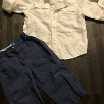 Carters Toddler Boy Navy Pants & Gap White Button Up Size 18-24 Months Photo