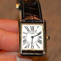 Cartier 925 Silver Gold Plated Vermeil Tank Quartz Unisex Watch Photo