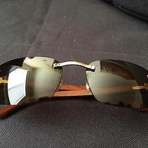 Cartier Authentic Gold Sunglasses C Decor Rimless Unisex Wood T8200728 Photo