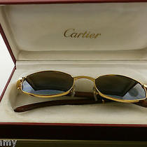 Cartier Bubinga Wood Octagon Gold Wood Sunglasses W/gold Lenses Stunning. Photo