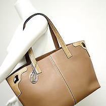 Cartier Camel Grained Leather W/ Python Straps and Accents Handbag Purse Tote Photo