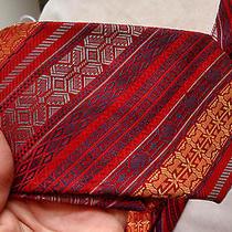 Cartier Fine Vtg Retro Classic 58l Red Art Wear Bright Color Woven Men Neck Tie Photo