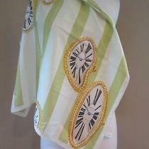 Cartier Green/off White/gold Silk Scarf Timepiece/watch Pattern France 27