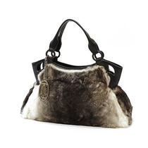 Cartier Hand Bag Rabbit Fur Gray X Brown 10037300 Photo