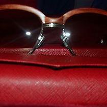 Cartier Horn Rim Wood Silver Frame Sunglasses Photo