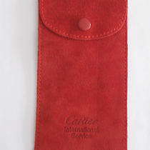 Cartier International Service Burgundy Red Suede Leather Jewelry Pouch - New Photo