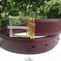 Cartier Le Must De Cartier  Paris Burgundy Genuine Leather Reversible Belt Photo