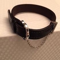 Cartier Les Must Black Chevre Goat Skin Bracelet W Silver Buckle/chain - Bnib Photo
