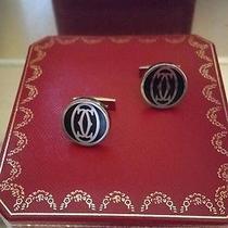 Cartier  Logo Decor Cufflinks Sterling Silver Palladium Black Lacquer With Box.  Photo