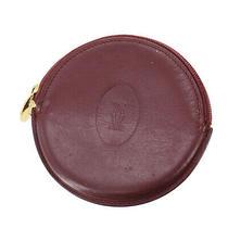 Cartier Logos Must Line Coin Case Bordeaux Leather Vintage Authentic Nn424 S Photo