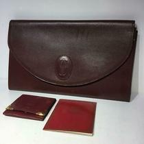 Cartier Mast Line Leather Clutch Bag Women With Coin Case Bonus Used From Japan Photo