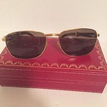 Cartier Monceau Gold and Wood 53/18 Brown Lenses Sunglasses  Photo