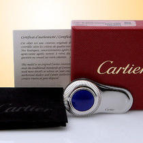 Cartier Money Clip With Watch Blue Cabochon Winding Crown Decor T1220654 Photo