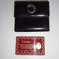 Cartier Panther Black Leather Wallet With Chrome Logo Photo