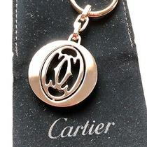 Cartier Pivoting Double C (2c) Decor Keyring - With Case and Pouch - New Photo