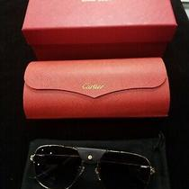 Cartier Premiere Sunglasses Ct0165s C01 Black Leather Platinum Gray Polarized Photo