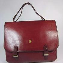 Cartier Red Bordeaux Leather Messenger/computer Tote Bag Photo
