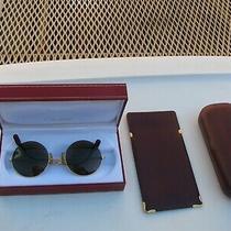 Cartier Round Sunglasses Gold/burgundy Authentic Photo