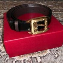 Cartier Santos 100 Belt Black Brown Cowhide Golden Finish Buckle New Photo