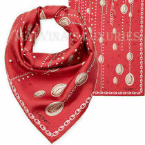 Cartier Scarf Chain Print Woven Silk Red Square 26