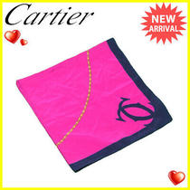 Cartier Scarf Large Format Size Pink Navy System 2c Mark Used D1613 Photo