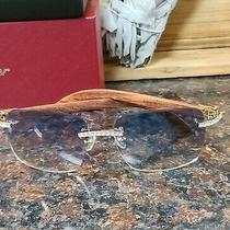 Cartier Sunglasses Wood Blue Lens Custom Diamonds  Photo