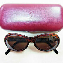 Cartier Trinity Brown Sunglasses Glasses 53-17-135 Original Lens W/leather Case Photo