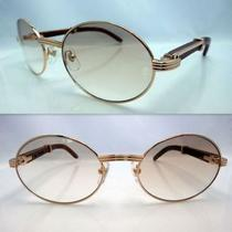 %Cartier% Wood Sunglasses Gold Brown Photo